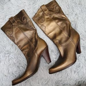 Distressed leather cowboy boots. Never worn.